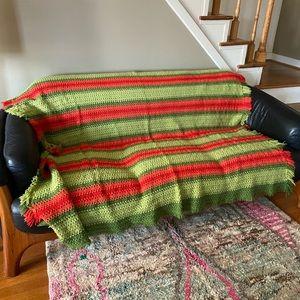 boho mid century blanket handmade vintage